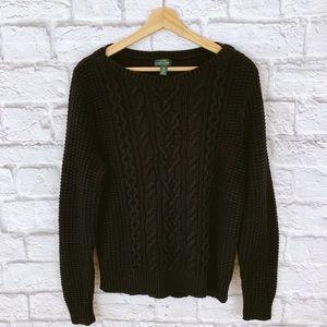 Lauren Ralph Lyren Black Cable Knit Sweater